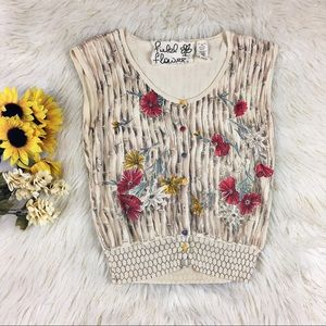 Anthropologie Field Flower Cardigan Vest Medium